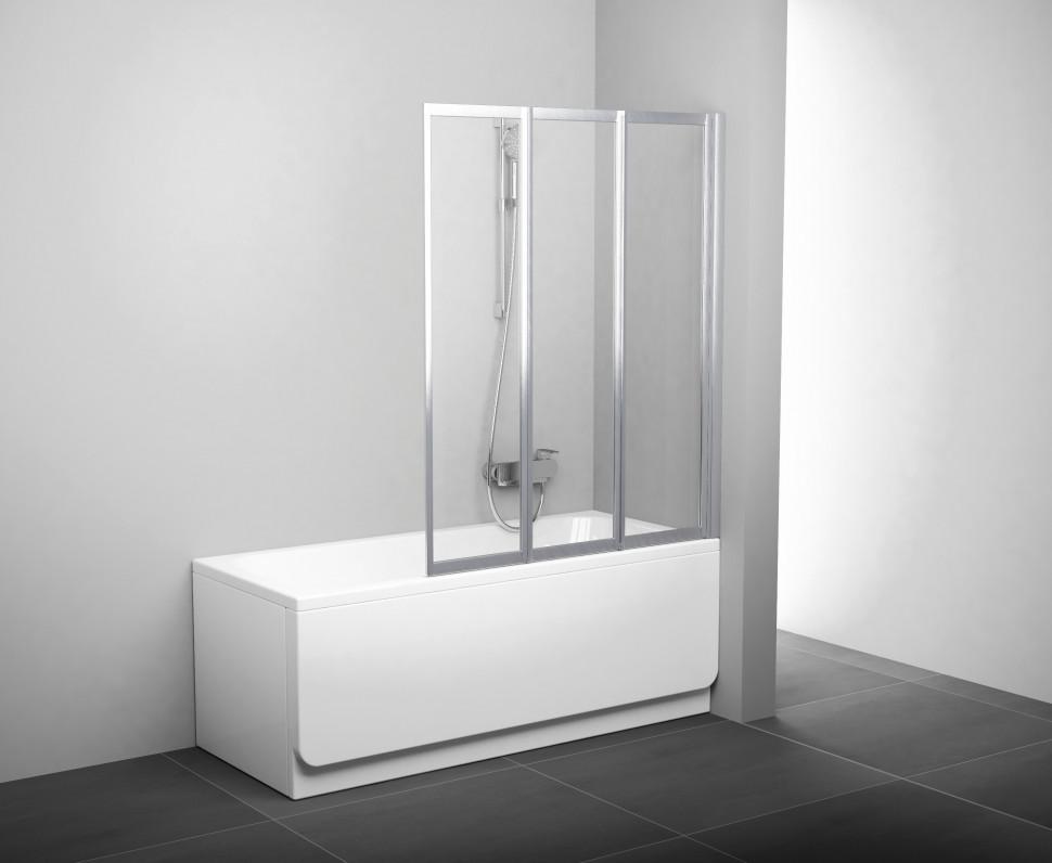 Шторка для ванны складывающаяся трехэлементная Ravak VS3 115 сатин+транспарент 795S0U00Z1 шторка на ванну ravak vs3 115 115х140 см рейн 795s010041