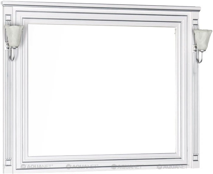 Зеркало 120х96,3 см белый серебряная патина Aquanet Паола 00181768 зеркало aquanet паола 181767 182019