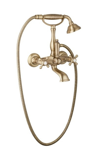 Смеситель для ванны с ручным душем бронза, ручки бронза Cezares Golf GOLF-VD-02