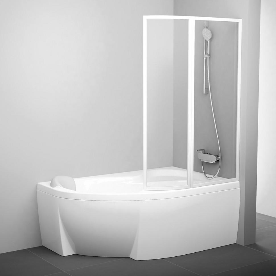 Фото - Шторка для ванны 98 см Ravak VSK2 Rosa 160 R белый прозрачное 76P90100Z1 шторка для ванны 92 см ravak vsk2 rosa 150 l белый rain 76l8010041