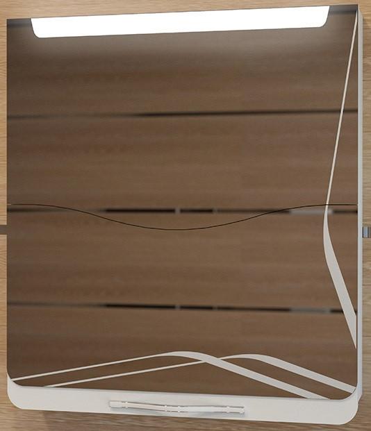 Зеркальный шкаф 65х74,8 см светлый лен/белый Velvex Iva zsIVA.65-11.26