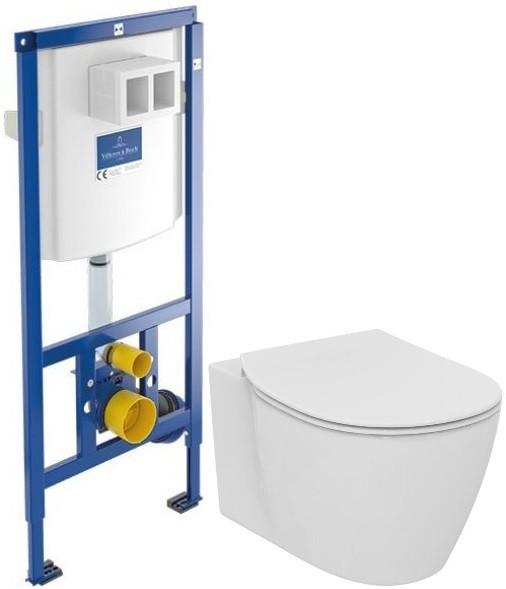 Комплект подвесной унитаз Ideal Standard Connect E771801 + E772401 + система инсталляции Villeroy & Boch 92246100