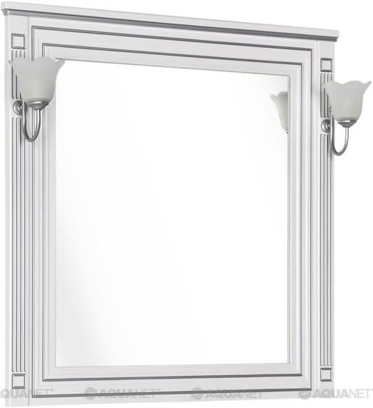 Зеркало 90х96,3 см белый серебряная патина Aquanet Паола 00181769 зеркало 120х96 3 см белый золотая патина aquanet паола 00186105