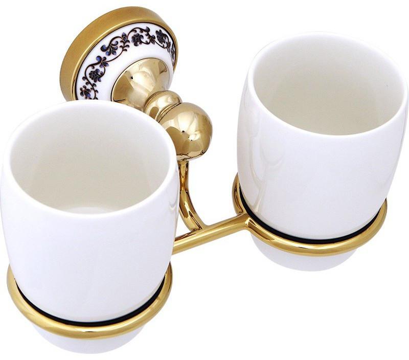 Стакан двойной Fixsen Bogema Gold FX-78507G стакан для зубных щеток fixsen bogema gold fx 78506g золото белый