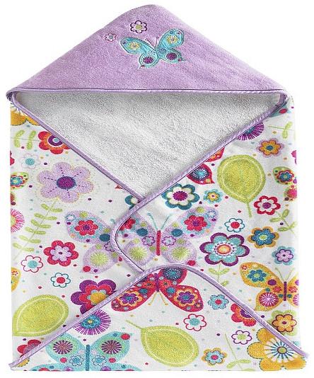 Полотенце банное с уголком 76х76 см Kassatex Bambini Hooded Butterflies BHD-BUT-MUL полотенца bebitof baby детское банное полотенце с уголком bbtf 3182