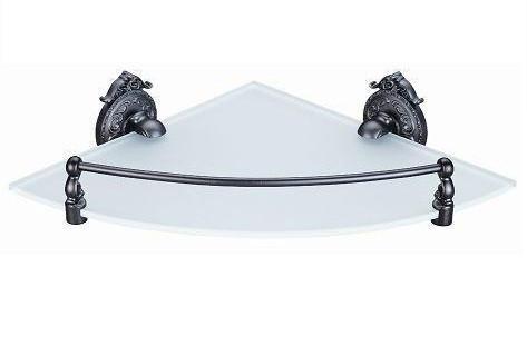 Полка стеклянная угловая 28 см с бортиком Hayta Antic Brass 13910-1/VBR цена и фото