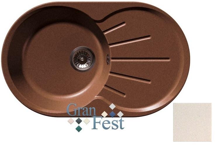 Кухонная мойка белый GranFest Rondo GF-R750L кухонная мойка granfest rondo gf r 520 d 520мм красный марс