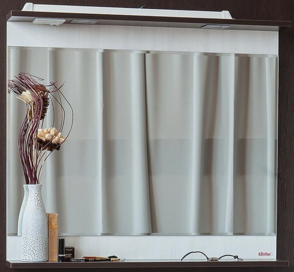 цены Зеркало 83,4х73,6 см венге/северное дерево светлое Sanflor Толедо H0000001263