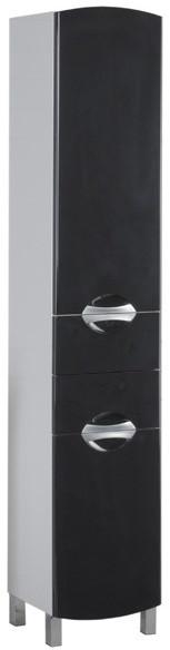 Пенал напольный правый белый/черный с бельевой корзиной Aquanet Асти 00178245 пенал aquanet сиена 35 l с бельевой корзиной белый 189246