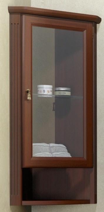 Шкаф подвесной угловой орех антикварный матовое стекло Opadiris Клио Z0000003907 цена