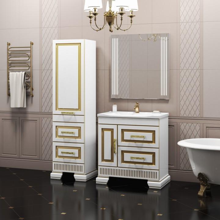 Комплект мебели белый золотая патина 83 см Opadiris Оникс ONIX80KOMG комплект мебели opadiris оникс z0000005573 z0000004912 10 010 01000 001