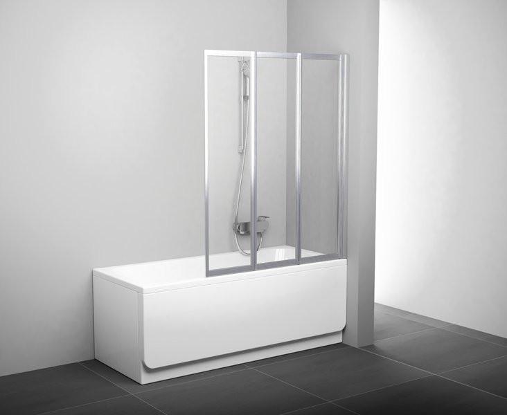 Шторка для ванны складывающаяся трехэлементная Ravak VS3 130 сатин+рейн 795V0U0041 шторка на ванну ravak vs3 115 115х140 см рейн 795s010041