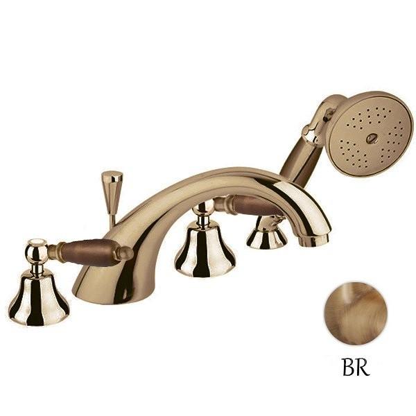 Смеситель на борт ванны бронза, ручки орех Cezares First FIRST-BVD-02-Nc