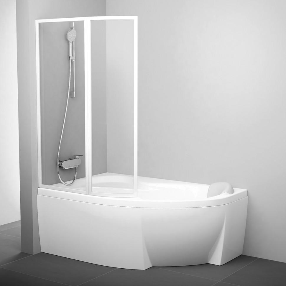 Шторка для ванны 107 см Ravak VSK2 Rosa 170 L белый прозрачное 76LB0100Z1 шторка на ванну ravak vsk2 rosa 170 l 170х150 см левая рейн 76lb010041