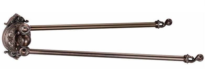 Полотенцедержатель двойной поворотный, рога Hayta Antic Brass 13930-2/VBR