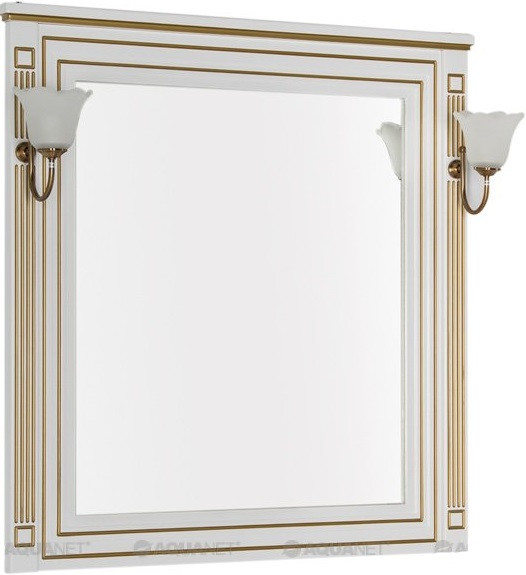 Зеркало 90х96,3 см белый золотая патина Aquanet Паола 00186108 зеркало 120х96 3 см белый золотая патина aquanet паола 00186105