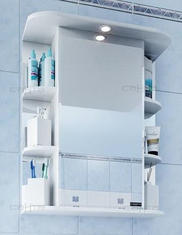 Зеркальный шкаф 65х72 см белый глянец Санта Герда 101045 цена и фото