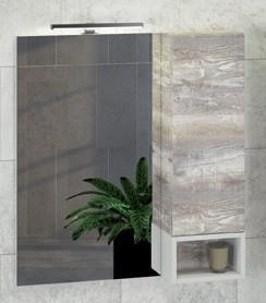 Зеркальный шкаф 75х80 см дуб бежевый/белый Comforty Турин 00004144198 зеркальный шкаф comforty кёльн 88 дуб темный 00004147987
