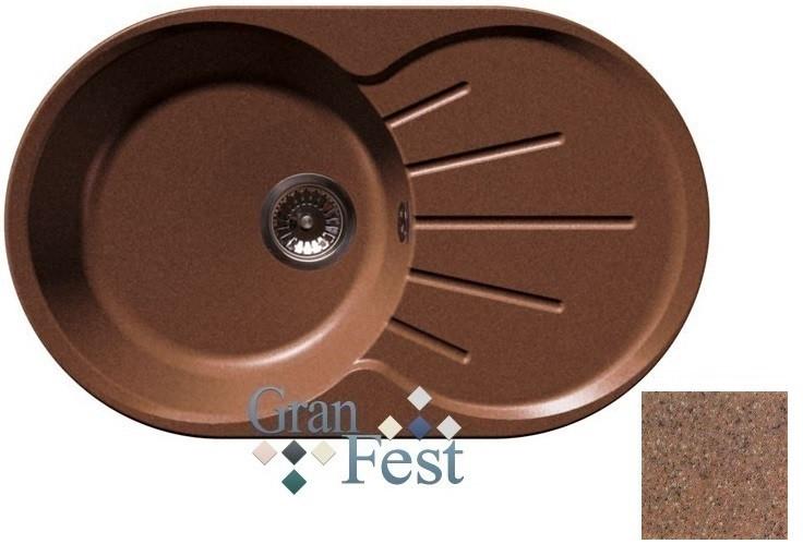 Кухонная мойка терракот GranFest Rondo GF-R750L мойка кухонная granfest гранит 850x495 gf s850l терракот