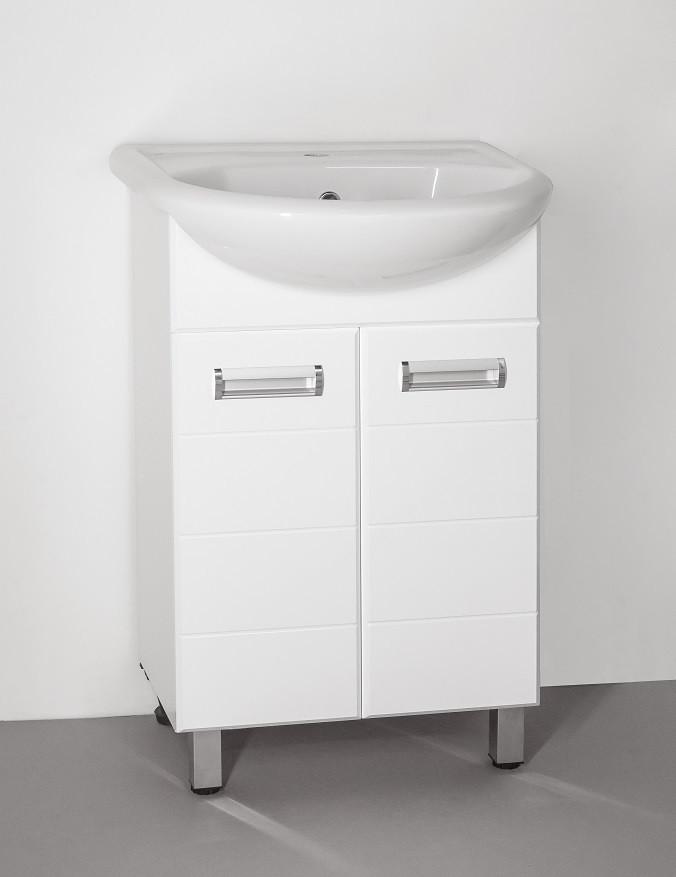 Тумба с раковиной белый глянец 55,5 см Style Line Ирис LC-00000015T