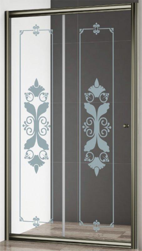 Душевая дверь 120,5 см Cezares GIUBILEO-BF-1-120-CP-Br прозрачное c матовым узором