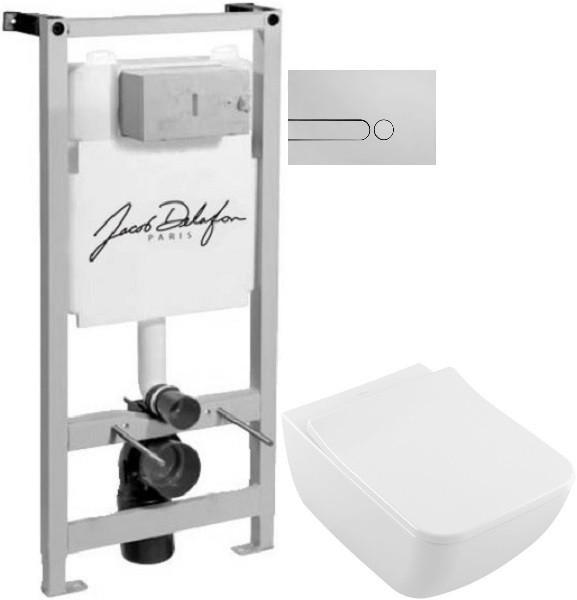 Комплект подвесной унитаз Villeroy & Boch Legato 5663RS01 + система инсталляции Jacob Delafon E5504-NF + E4326-CP фото