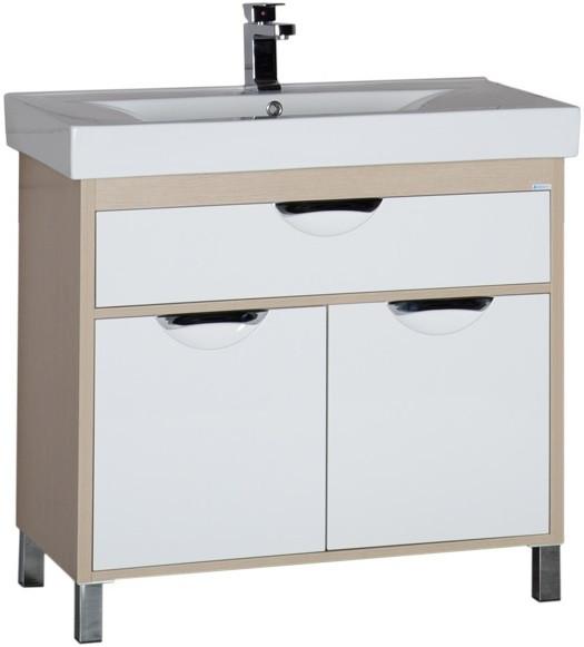 Тумба белый/светлый дуб 88 см Aquanet Гретта 00177069 комплект мебели для ванной aquanet гретта 75 209980 светлый дуб