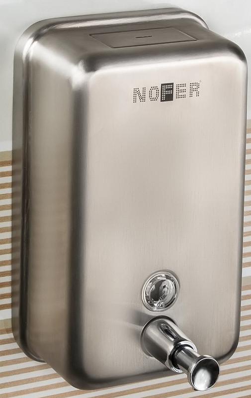 Диспенсер для мыла 1200 мл матовый хром Nofer Inox 03001.S диспенсер для мыла axentia graz eckig квадрат 131077 черный 275 мл