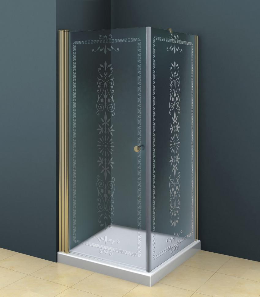 Душевой уголок Cezares Royal Palace 90x90 см прозрачное c матовым узором ROYAL PALACE-A-A-1-90-CP-Br