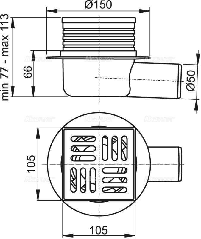Сливной трап 105×105/50 решетка из нержавеющей стали AlcaPlast APV26