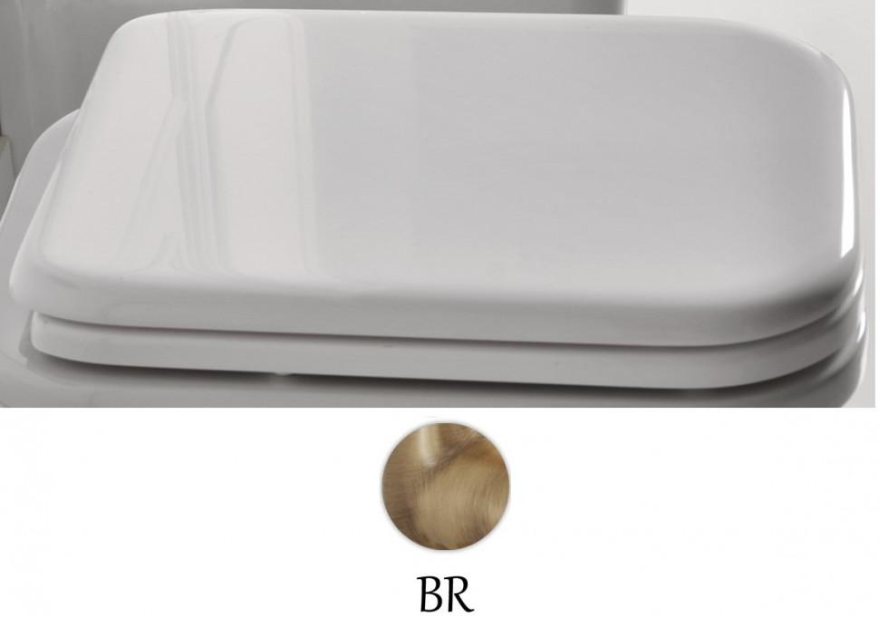 Сиденье для унитаза с микролифтом белый/бронза Kerasan Waldorf 418601bi/br
