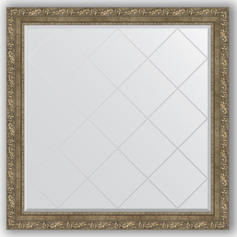Зеркало 105х105 см виньетка античная латунь Evoform Exclusive-G BY 4446 зеркало evoform exclusive g floor 200х80 виньетка античная латунь