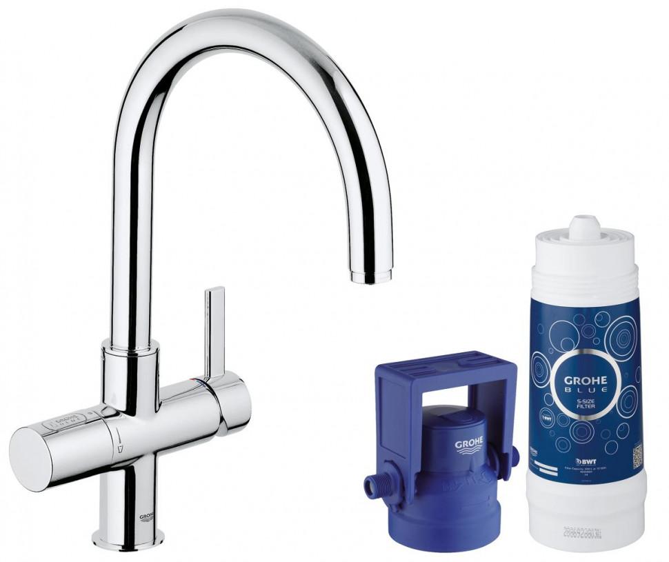 Смеситель для мойки с функцией очистки водопроводной воды Grohe Blue Pure 33249001 смеситель для кухни grohe blue pure 33249001