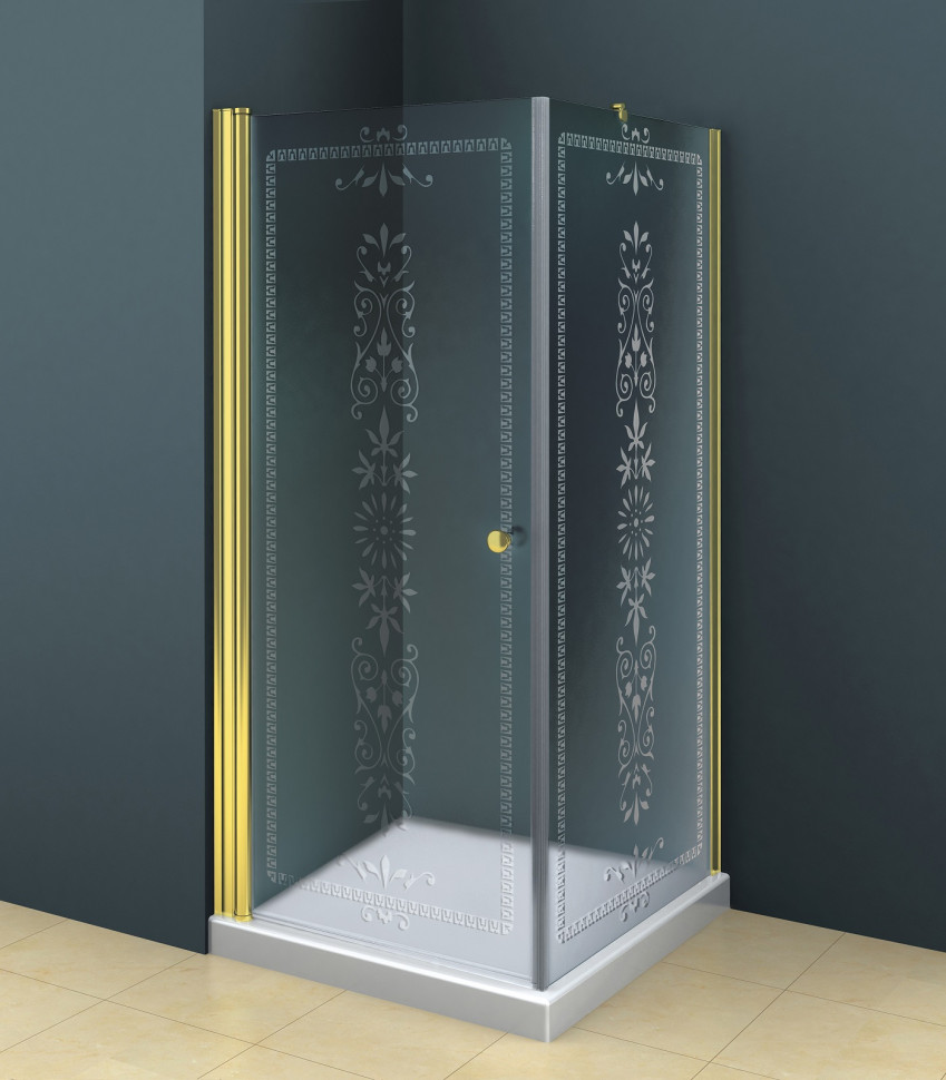 Душевой уголок Cezares Royal Palace 90x90 см прозрачное c матовым узором ROYAL PALACE-A-A-1-90-CP-G