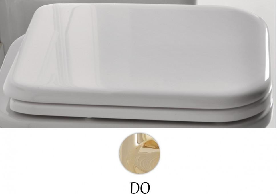 Сиденье для унитаза с микролифтом белый/золото Kerasan Waldorf 418701bi/oro