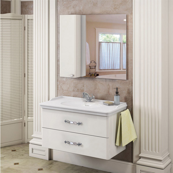 Зеркальный шкаф 100х80 см белый глянец Comforty Неаполь 00004139023 фото