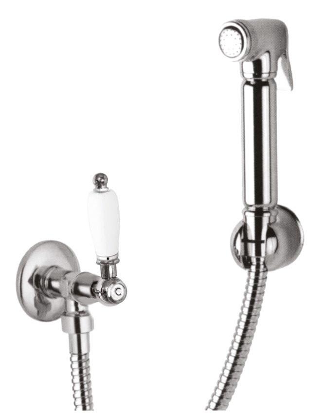 Гигиенический набор хром, ручка белая Cezares First FIRST-KS-01-Bi