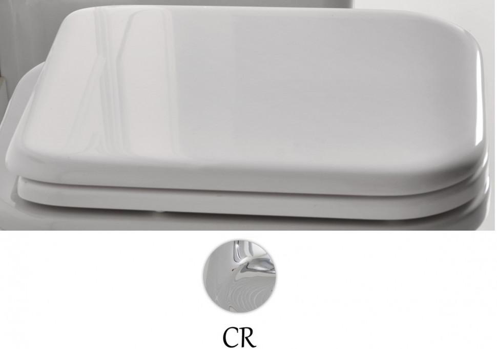 Сиденье для унитаза с микролифтом белый/хром Kerasan Waldorf 418801bi/cr
