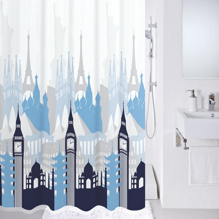 Фото - Штора для ванной комнаты Milardo Travel memories 780P180M11 шторка для ванной комнаты milardo brick wall 533v180m11