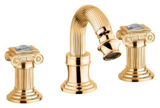 Смеситель для биде на три отверстия золото 24 карата, ручки Swarovski Cezares Olimp OLIMP-BBS2-03/24-Sw смеситель для биде на три отверстия бронза ручки металл cezares olimp olimp bbs2 02 o