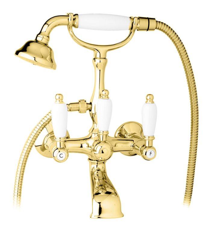 Смеситель для ванны с ручным душем золото 24 карат, ручки белые Cezares First FIRST-VD-03/24-Bi