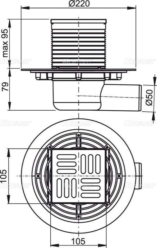 Сливной трап 105×105/50 решетка из нержавеющей стали AlcaPlast APV1311
