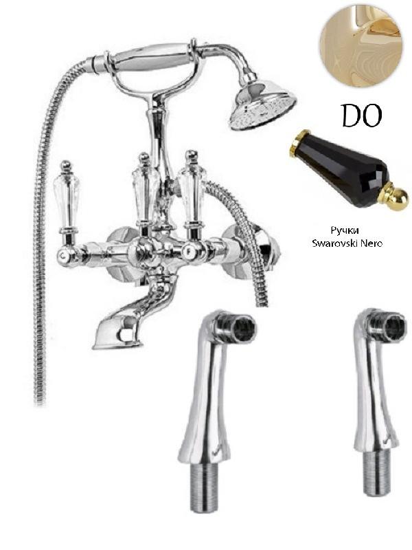 Смеситель на борт ванны с ручным душем золото 24 карат, ручки Swarovski Nero Cezares Diamond DIAMOND-PBV-03/24-Sw-N