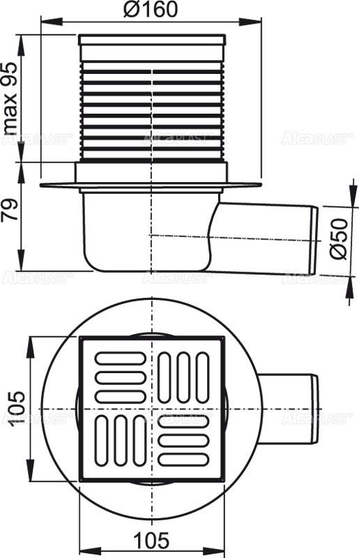 Сливной трап 105×105/50 решетка из нержавеющей стали AlcaPlast APV1