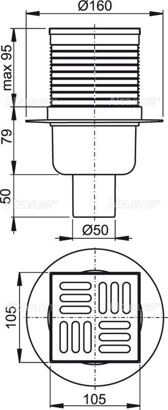 Сливной трап 105×105/50 решетка из нержавеющей стали AlcaPlast APV32