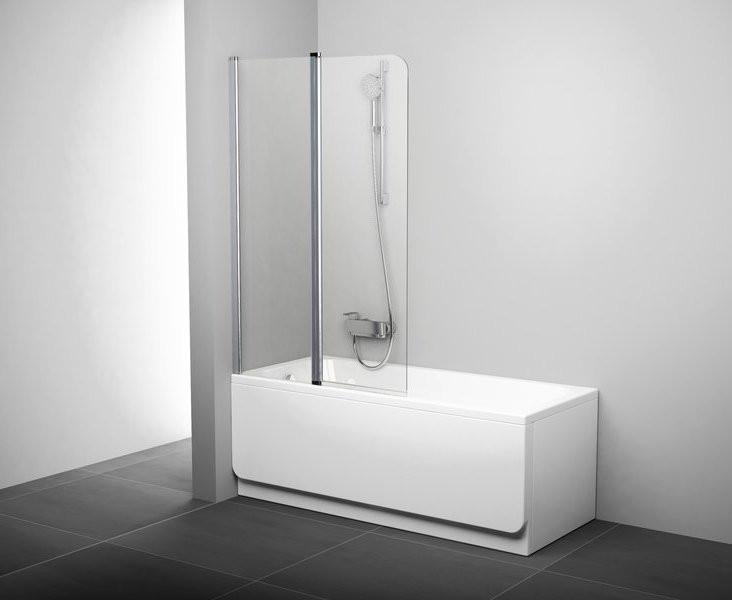 Шторка для ванны подвижная двухэлементная Ravak CVS2-100 L белый+транспарент 7QLA0100Z1 шторка для ванны ravak vs2 105 профиль хром матовое стекло