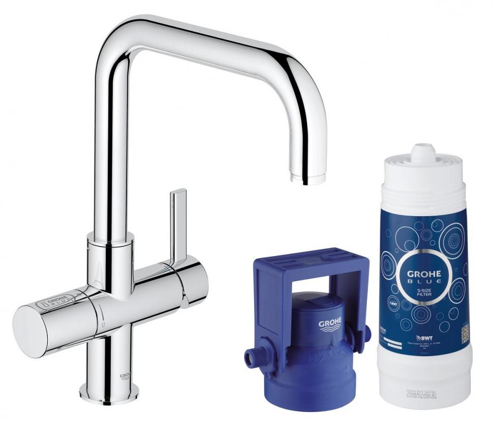 Смеситель для мойки с функцией очистки водопроводной воды Grohe Blue Pure 31299001 grohe blue pure 33249001 для кухонной мойки