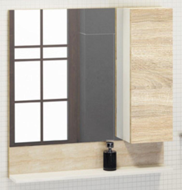Зеркальный шкаф 80х80 см дуб сонома/белый Comforty Рига 00004139024 зеркальный шкаф comforty кёльн 88 дуб темный 00004147987