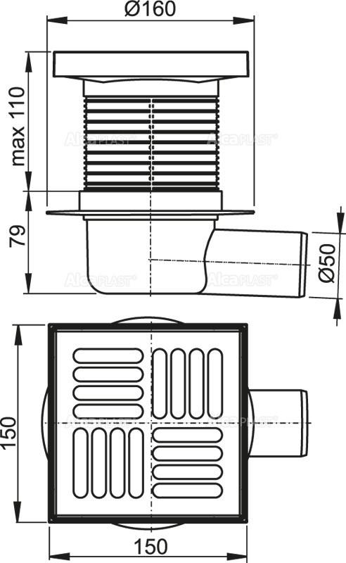 Сливной трап 150×150/50 решетка из нержавеющей стали AlcaPlast APV5411