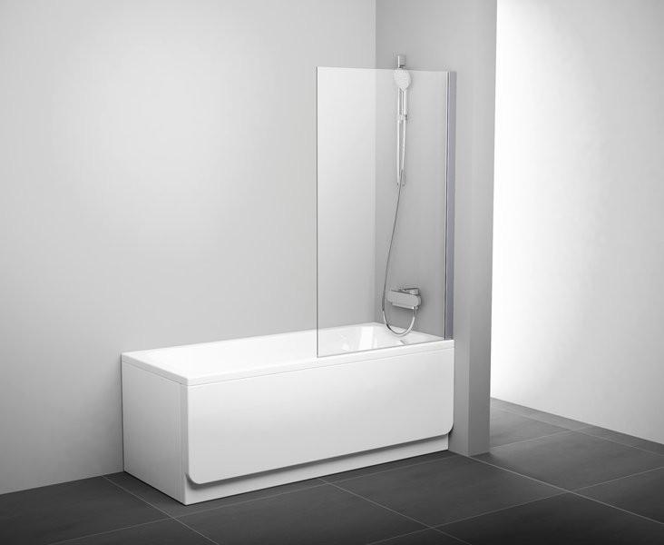 Шторка для ванны неподвижная одноэлементная Ravak PVS1-80 сатин+транспарент 79840U00Z1 недорого